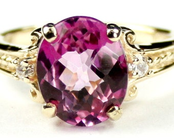 Pure Pink Topaz, 10KY Gold Ring, R136