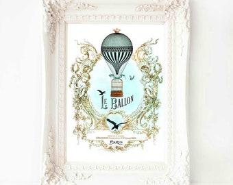 Hot air balloon, French art print, vintage flight with a bird cage, Le Ballon, Paris, A4 giclee