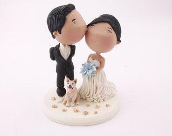 Groom kissing bride. Pet dog Wedding cake topper. Wedding figurine. Handmade. Fully customizable. Unique keepsake
