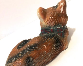 Vintage CHALKWARE Large (Life Size) Cat Sculpture Figurine Kitten Kitty Tabby Hand Painted Primitive Rustic Shabby Curled Up Bow Garden Art