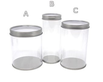 Party Favor Cylinder with Clear Window Tin Lid, 1-Count