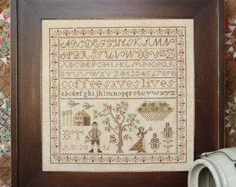 Coffee Saves Lives; the Magical Elixir Series #1. Cross Stitch Pattern by Heartstring Samplery