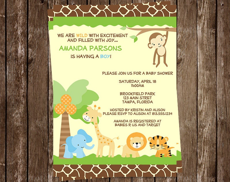 Jungle Baby Shower Invitations Safari Animal Print Monkey