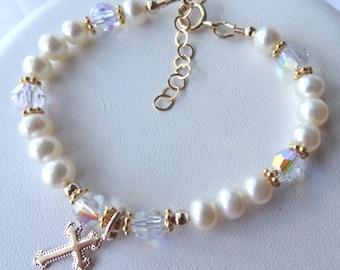 Gold Freshwater Pearl Baby Bracelet, Freshwater Pearl Birthstone Bracelet, Cross Bracelet, Flower Girl Bracelet, First Communion Bracelet
