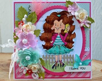 I Love You Grandma, Mother's Day Card, Greeting Card For Grandma, Handmade Card, Shabby Chic Card, Tarjetas, Gift For Grandma, Handmade Gift