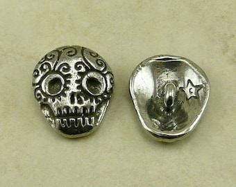 Sugar Skull Green Girl Button - Skully Day of the Dead Dia de los Muertos Skeleton Goth - American Artist Made Lead Free Pewter Silver 328