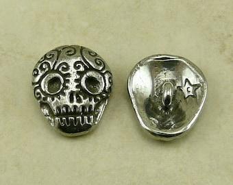Zucker Schädel grüne Mädchen Taste - Skully Tag der Toten Dia de Los Muertos Skelett Gothic - amerikanischen Künstler gemacht führen kostenlose Zinn Silber 328