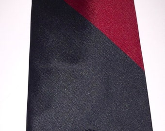 Vintage Countess Mara tie, black/burgundy/grey/beige Striped Necktie