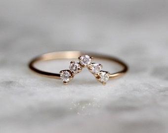 14K Chevron Diamond Wedding Band, Mountain Ring, Diamond Cluster, V Ring, Peak Ring, Trangle Band, Gold Ring, Stacking Ring