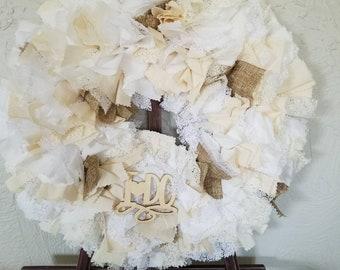 Wedding Door Wreath, Wedding Door Decor, Wedding Door Hanger, Wedding Wreath for Door, Bridal Shower Wreath, Wedding Pew Decor, Pew Decor