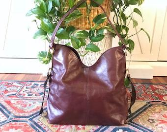Vintage Oversized Leather Satchel Bag / Burgundy Leather Handbag / Boho Bag