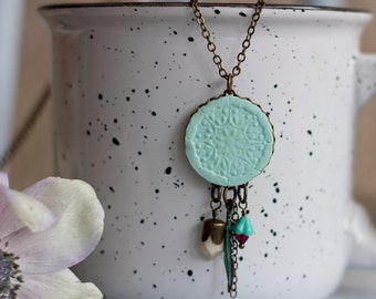 Boho Necklace, Layered Necklace, Dream Catcher Necklace, Tribal Necklace, boho jewelry, Turquoise Pendant Necklace, Mint Necklace,Spiritual