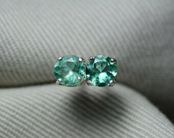 Emerald Earrings, Colombian Emerald Stud Earrings 0.67 Carats, Appraised at 670.00 Sterling Silver, Real Natural, May Birthstone, Round Cut