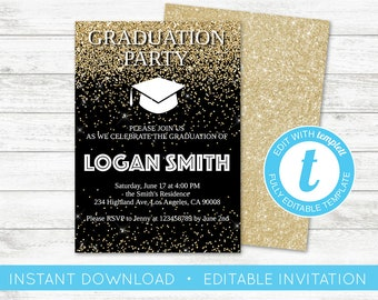 Floral grad invite etsy quick view edit yourself graduation party invite filmwisefo