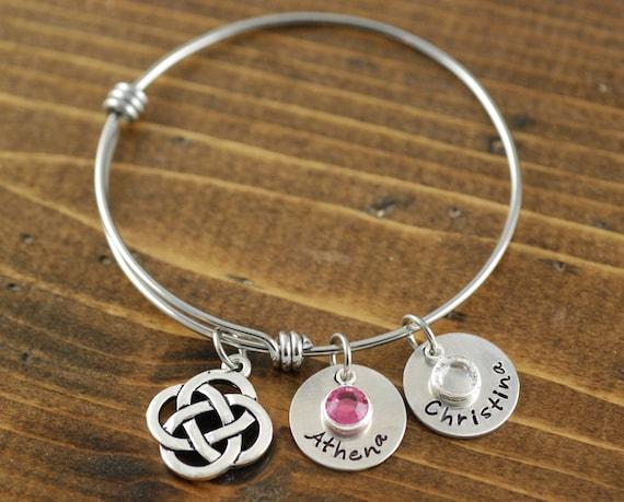Celtic Bangle Bracelet,Silver Bangle Bracelet, Silver Celtic Bangle Bracelet, Birthstone Jewelry, Expandable Bangle Bracelet