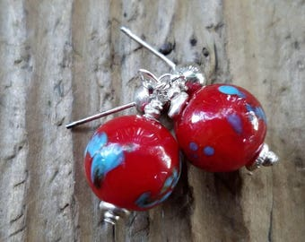 Red Lampwork Glass Earrings and Hill Tribe Silver, Lamp Work Glass, 4mm Sterling Silver Stud Earrings, Red Murano Glass Earrings