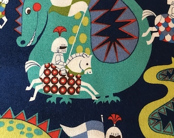 Knight Meets Dragon, Navy Background from Alexander Henry Fabric 100% cotton