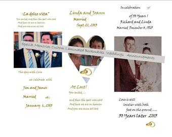 Custom Bookmarks/ All Occasions Births Anniversary Weddings Memorials Engagements Etc./ Personal Custom Bookmarks