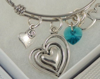 Heart Charm Bracelet, Love Bangle, Valentine Bracelet, Stainless Steel Bangle, Expandable Bracelet, Swarovski Crystal Heart, Silver Charm