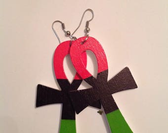 Red Black and green ankh earrings