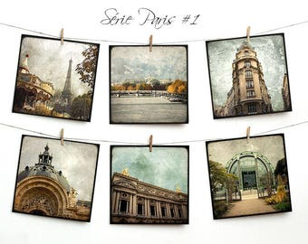 Set of six postcards 14x14cm - series Paris 01