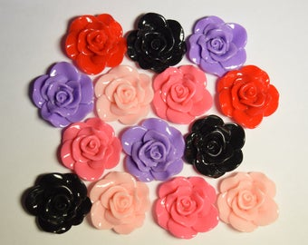 28mm Rose Flower Decoden Cabochon for Scrapbooking, DIY Projects, Embellishments, Crafts