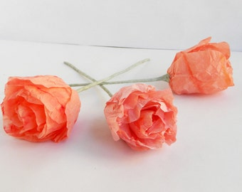 Five pieces of paper roses, paper flowers, tissue paper roses