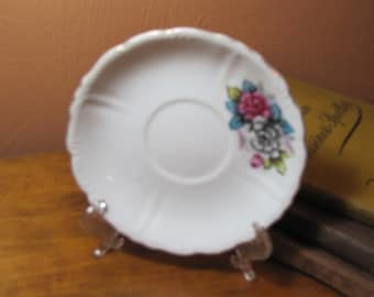 Small Vintage Saucer - Grey and Pink Roses With Blue Leaves