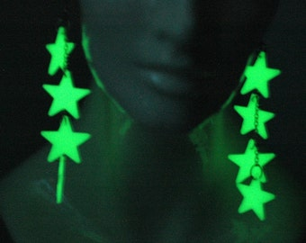 Glowing Earrings Star Dangle  Handmade Jewelry Christmas Gifts