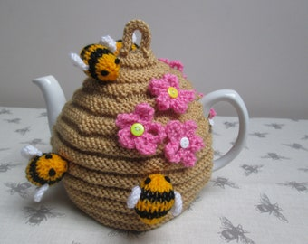 Hand Knitted Bee Hive Tea Cosy Cozy With Bumble Bees & Flowers ~ Ready To Ship