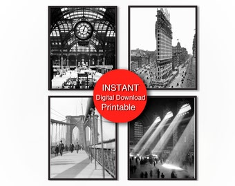 Printable New York City Print Set of 4 Prints, Black and White Photography 8x10 11x14