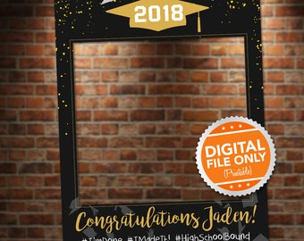 Black and Gold Graduation Photo Booth. Party Prop Frame. Digital File Only