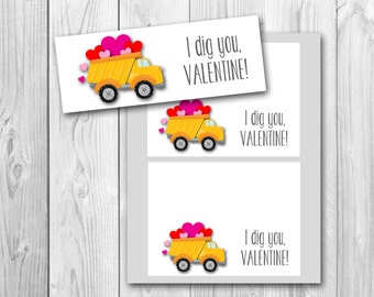 Valentine's Day favor tags, treat bag tags, I dig you, printable gift tags, instant download