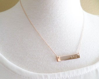 Gold, Silver or Rose Gold Bar necklace, Hand Stamped Personalized initial necklace, dainty, simple, birthday, wedding, bridesmaid