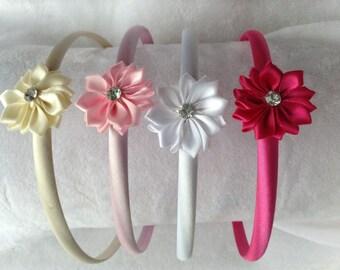 Satin flower headband (1) - children - girls - teen - hair accessories - baby pink, white, fuchsia, ivory