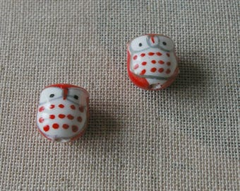 A Pearl in the hand painted ceramic red OWL