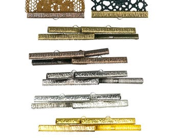 50mm or 2 inch Ribbon Clamps Ends Crimps WITH loop - 20 pieces in Mixed Finishes - Artisan Series