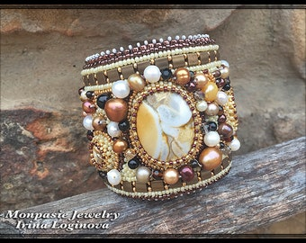 Seed Bead and Gemstones Embroidered Cuff Bracelet