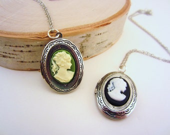 Cameo necklace. Locket necklace. Silver locket necklace with green, black, or red cameo. Silver or bronze chain. Gift for her. LAST ONE.