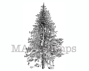 Rubber stamp of a Christmas tree / Brownies christmas tree stamp / large rubber stamp / unmounted or cling stamp option (131123)
