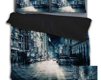 SALE! SALE! SALE! Stormy City Duvet Cover with Pillow Cases Bedding Set.