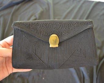 Vintage Black Corde Clutch Purse Wallet 1940's