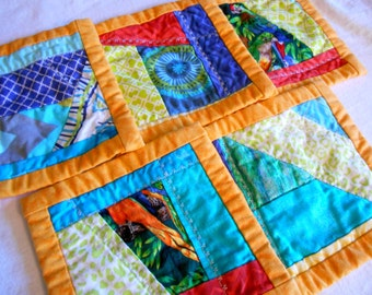 Birds of a Feather reversible double sided budgie parakeet quilted coaster hot pad set