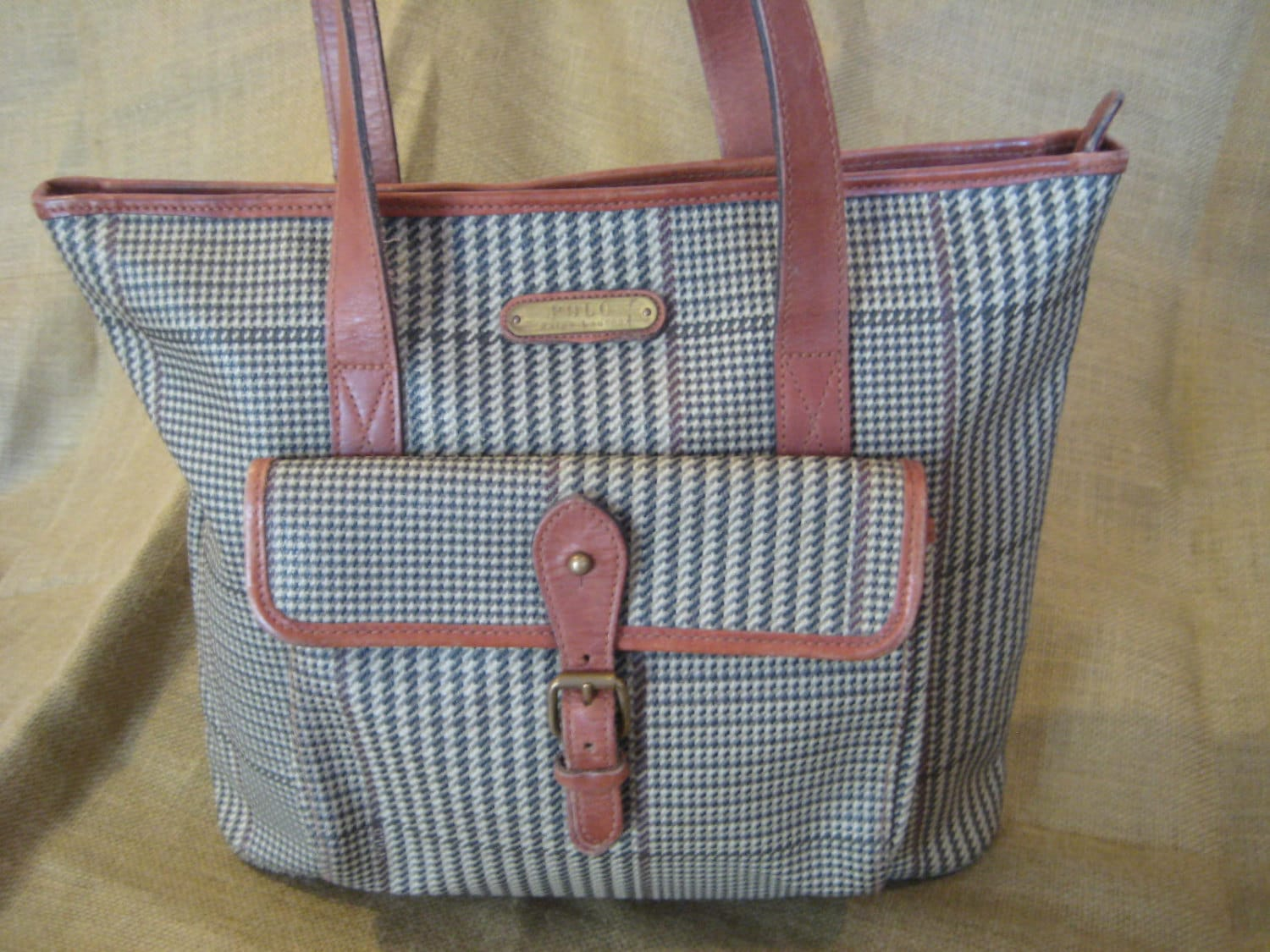 0a50cfca75 Genuine vintage Polo Ralph Lauren tan houndstooth tote bag