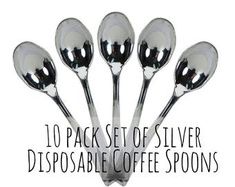 10 Pack Disposable Silver Coffee Spoons, Plastic Teaspoon, Plastic Coffee Stirrers, Table setting, Wedding Setting, Outdoor Party Set