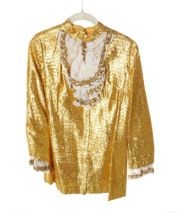 Amazing gold metallic ruffled sequined tuxedo blouse and pant set, late 1960s.
