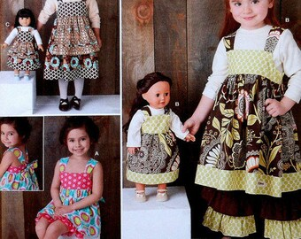 Simplicity 1793 Girl's Dress and 18 inch Doll Dress Sewing Pattern, Size 3 - 8, Uncut