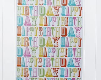 Happy Birthday Wrapping Paper-Fancy Type Wrapping Paper-Birthday Wrapping Paper-Happy Birthday Wrap-Birthday Giftwrap-Wrapping Sheets