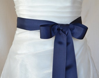 Navy Blue Grosgrain Ribbon, 1.5 Inch Wide, Navy Blue Ribbon Bridal Sash