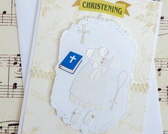 Handmade Christening Card, 3D Handmade Baptism Greeting Card, Blank Baptism Card, Religious Card, Infant Christening, Baby Baptism